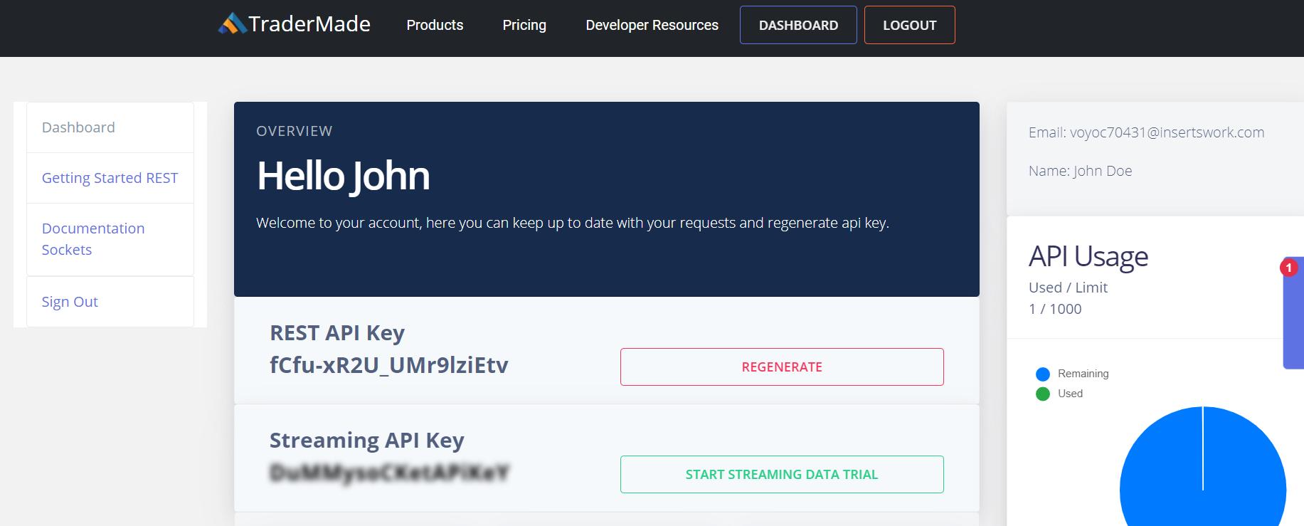 TraderMade Data Key